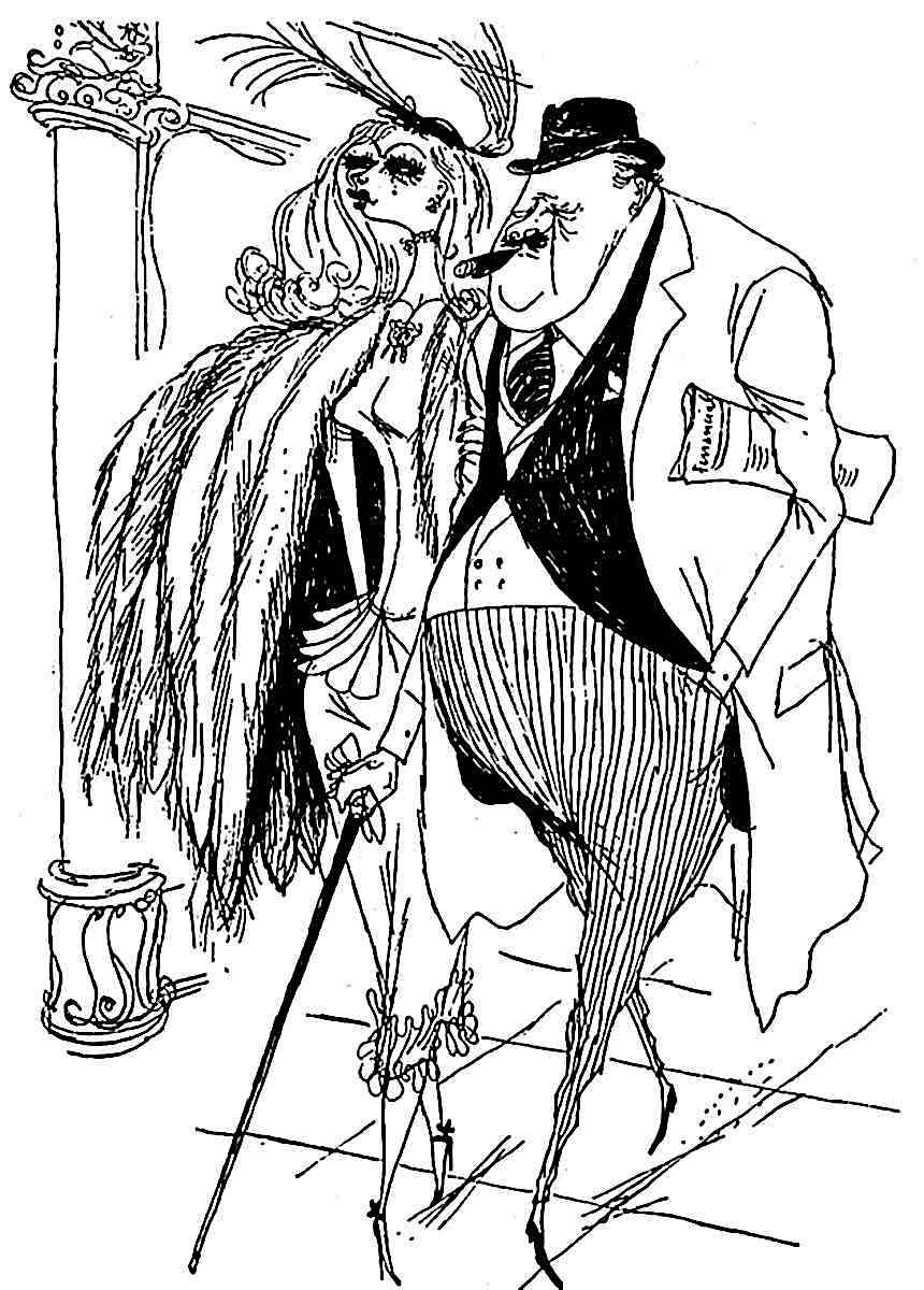a Ronald Searle drawing of an older businessman with a younger woman