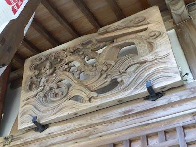 御机神社 拝殿 木彫り