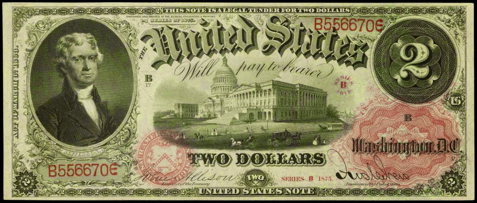 United States Notes 1875 Two Dollar Legal Tender Note Thomas Jefferson