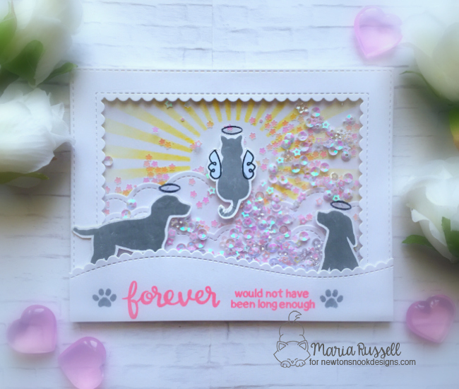 Forever Dog and Cat card by Maria Russell | Furr-ever Friends | Dog and Cat Sympathy Stamp Set by Newton's Nook Designs #newtonsnook