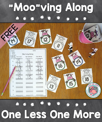This versatile kindergarten math resource with a cow theme can be used to teach, practice, or review the concept of one less and one more than a given quantity or number.
