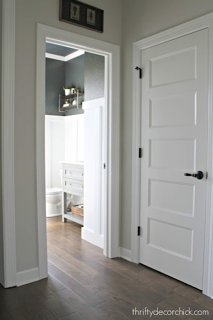 Navy and blue powder room makeover