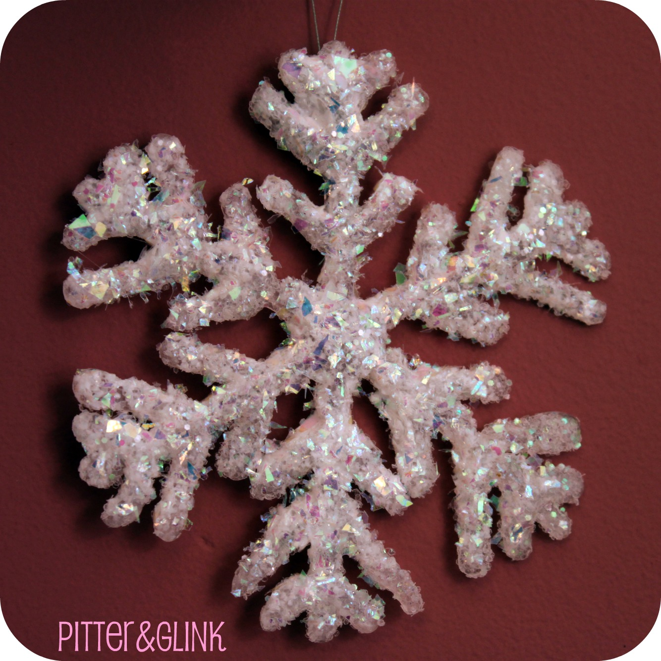 Hot Glue Glittered Snowflake Ornaments Featuring Bethany From Pitter