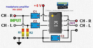 TDA2822M Stereo headphone amplifier circuit