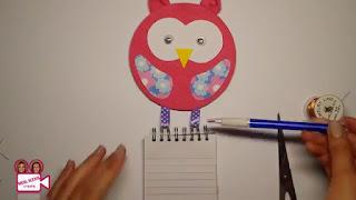 tutorial cara Membuat Gantungan Memo Burung Hantu dari CD bekas
