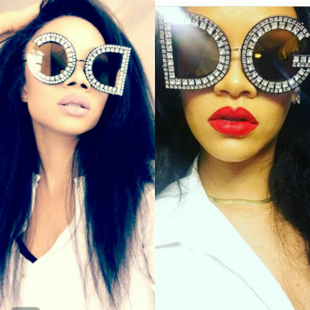 Toke Makinwa vs Rihanna in D&G embellished sunglasses #baydorzblogng
