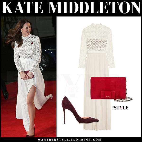 Kate Middleton in cream lace maxi self portrait dress and suede pumps gianvito rossi what she wore red carpet
