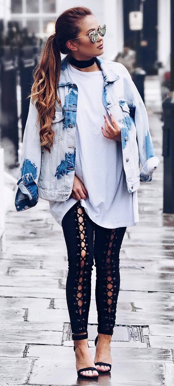 street style perfection: denim jacket + top + skinnies + heels