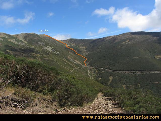 Ruta Pico Cellón. Vista de la subida al Cellón por el Valle de los Pozos