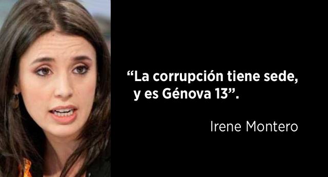"""Irene Montero: """"La corrupción tiene sede, y es Génova 13"""""""