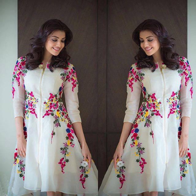 Kajal Agarwal Designer White Floral Embroidered Zipper Front Western Dress