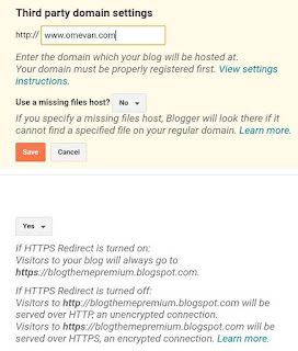 Pasang custom domain di blogger