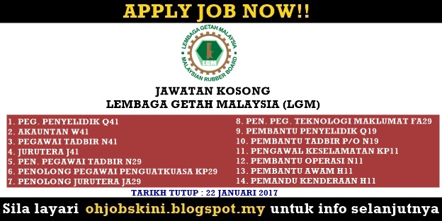 Jawatan Kosong Lembaga Getah Malaysia (LGM)