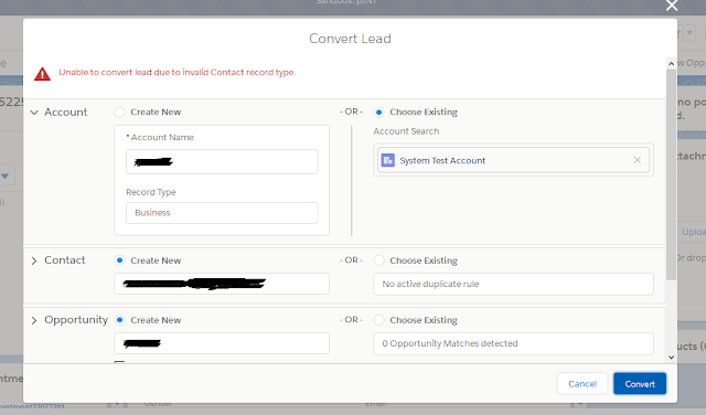 Unable to convert lead due to invalid Record type