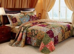 French Country Floral Patchwork Cotton Quilt Bedding Set King Size
