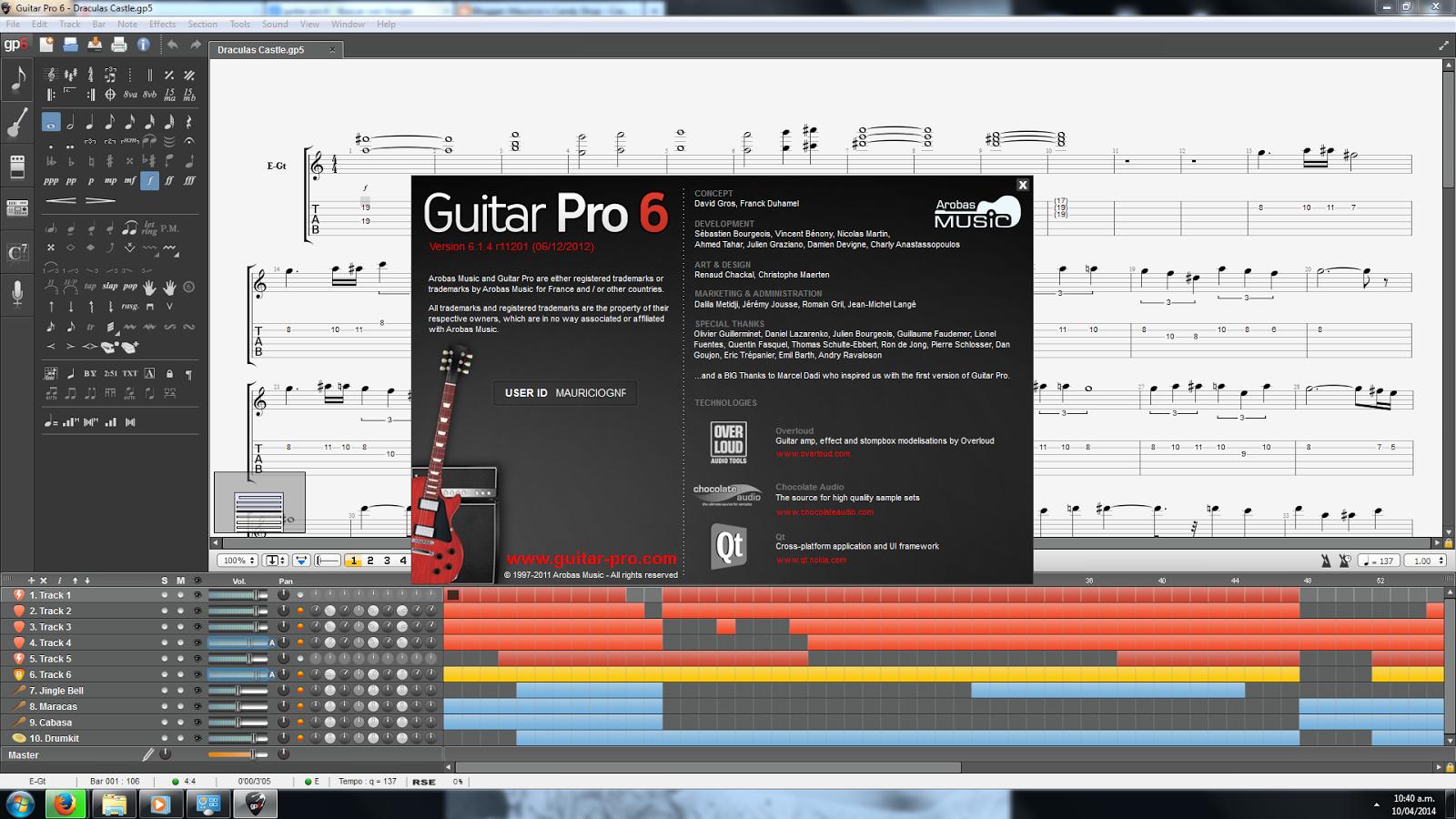 Ventana Acerca de Guitar pro