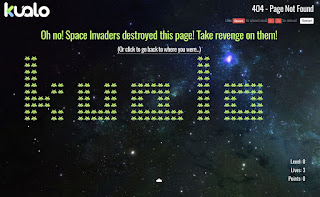 A screen of the 404 page which isa  Space Invaders game in which the invaders spell out the company's name