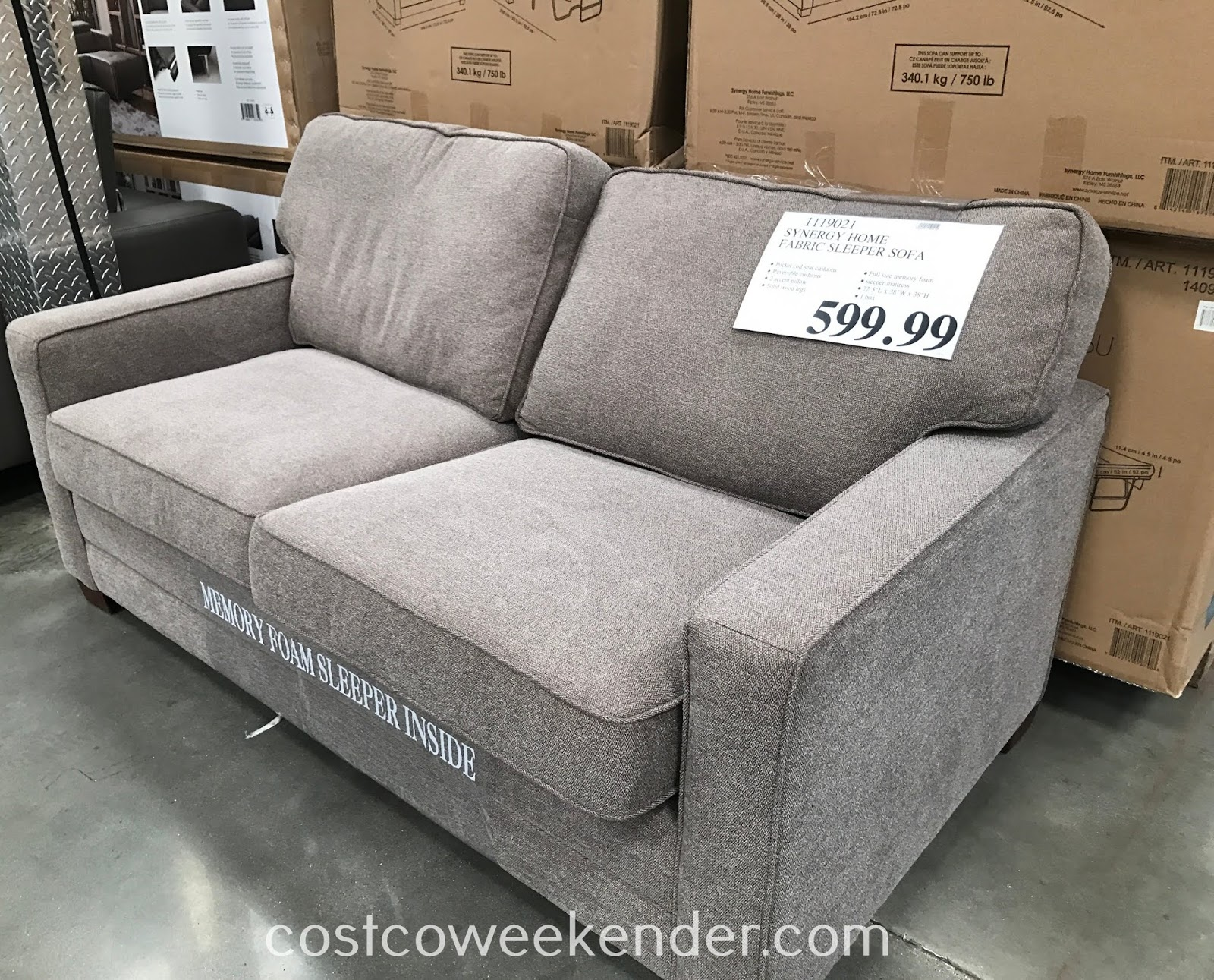 - Synergy Home Fabric Sleeper Sofa Costco Weekender