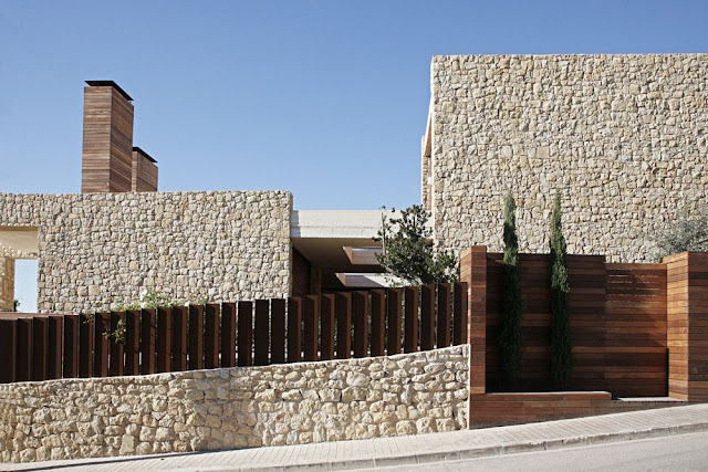 Stone wall of a modern home