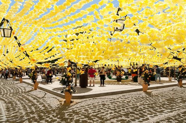 Pueblo Portugues Decorado Con Flores De Papel