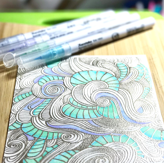Wavy Coloring Book Background stamp - Jeanette Delaplane #mftstamps