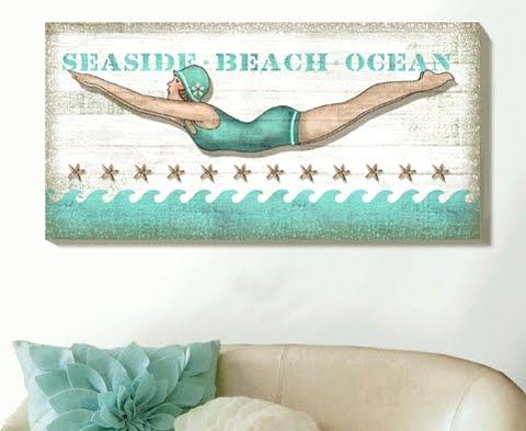 beach wall art diver girl
