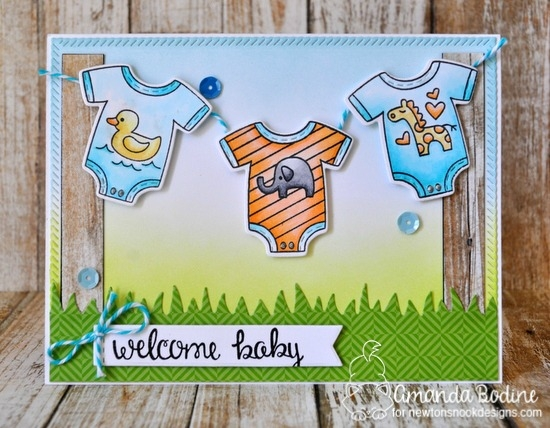 Baby Laundry Card by Amanda Bodine | Loveable Laundry stamp set and Stitched Onsie die set by Newton's Nook Designs #newtonsnook