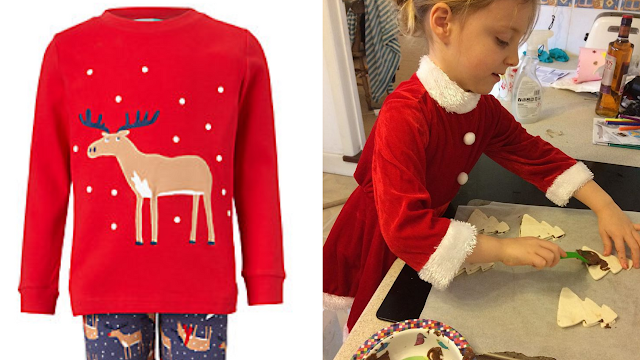 Christmas jumpers and Lily making Nutella christmas trees with puff pastry