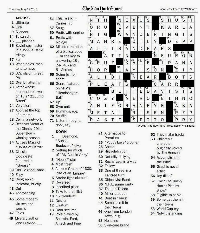 The New York Times Crossword in Gothic: 05.15.14 — The I's