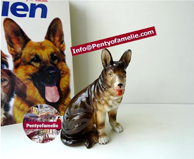 Unique old German Shepherd tricolored figurine made of glazed earthenware