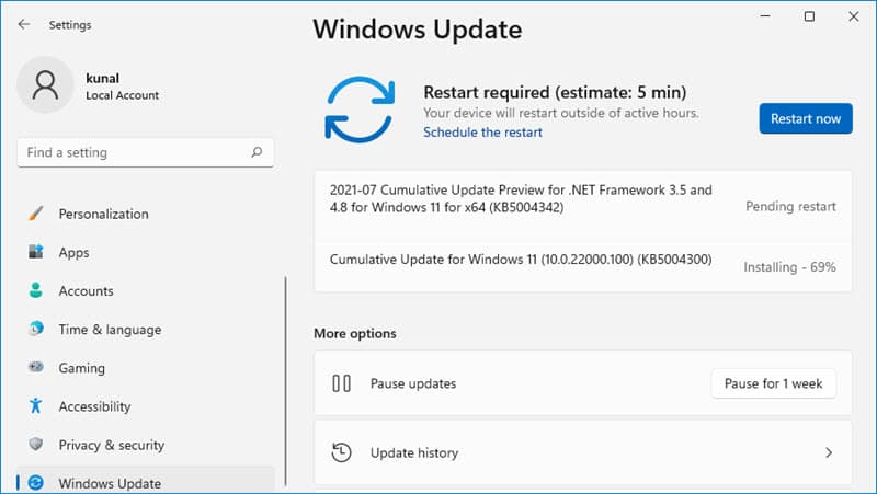 How to install Windows 11 Build 22000.100 (KB5004300)