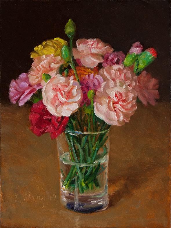 Wang Fine Art Carnation Flower Original Painting Still Life Flora