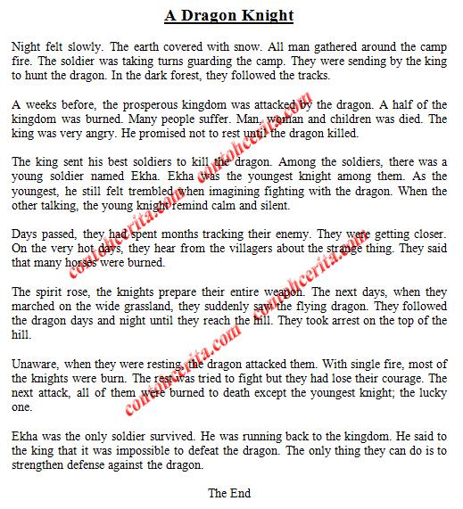 dragon knight, cerita imajinasi dalam bahasa inggris