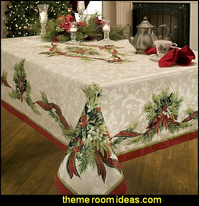 Christmas Ribbons Engineered Printed Fabric Tablecloth  christmas kitchen decorations - Christmas table ware - Christmas mugs  - Christmas table decorations - Christmas glass ware - Holiday decor - Christmas dining - christmas entertaining - Christmas Tablecloth - decorating for Christmas - Cookie Cutters
