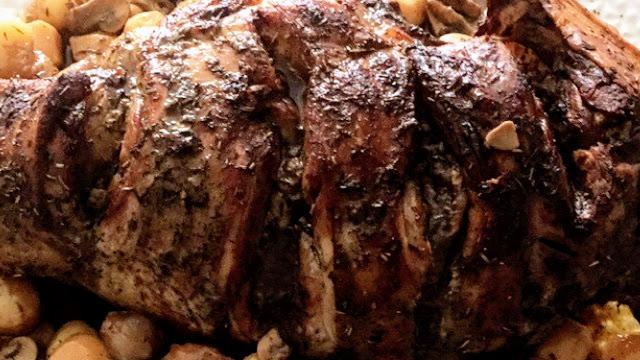 Gigot d'agneau rôti au four et gratin de pommes de terre