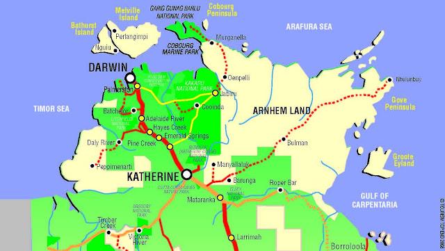 Darwin territory map