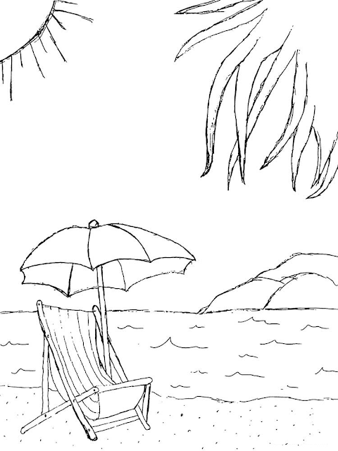 Gambar Pantai Hitam Putih : gambar, pantai, hitam, putih, Gambar, Mewarnai, Pantai
