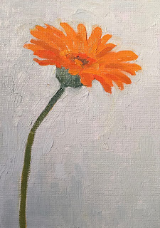 Daily Painting # 3 'Gerbera' 5×7″, oil on board