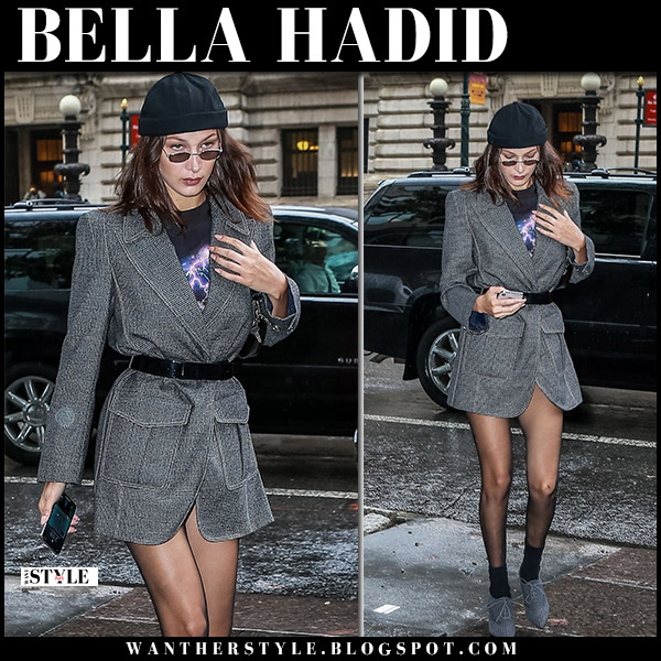 Bella Hadid in grey belted fendi blazer mini dress and grey lace up shoes model nyfw style september 10
