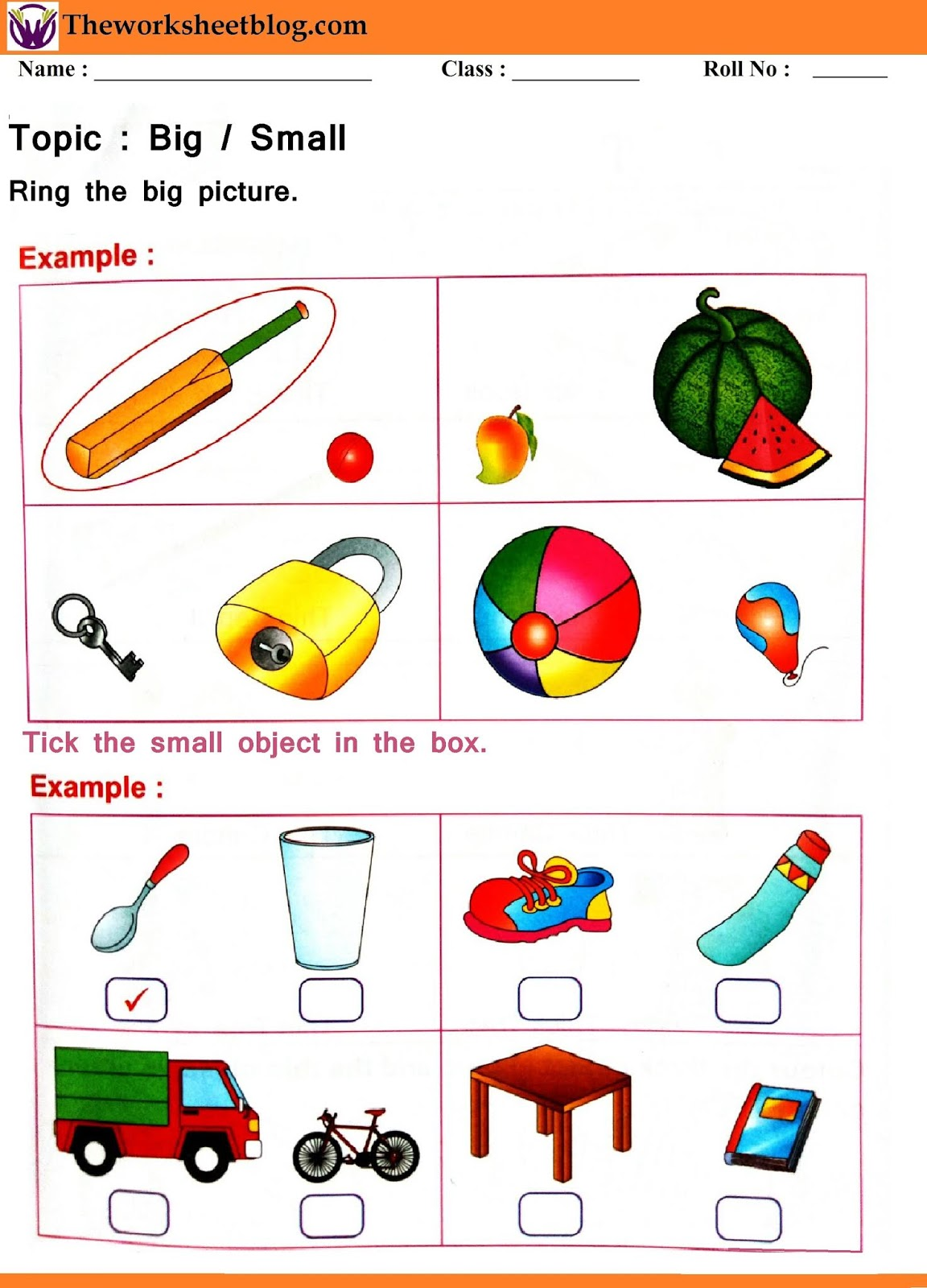 Big And Small Worksheets For Kindergarten