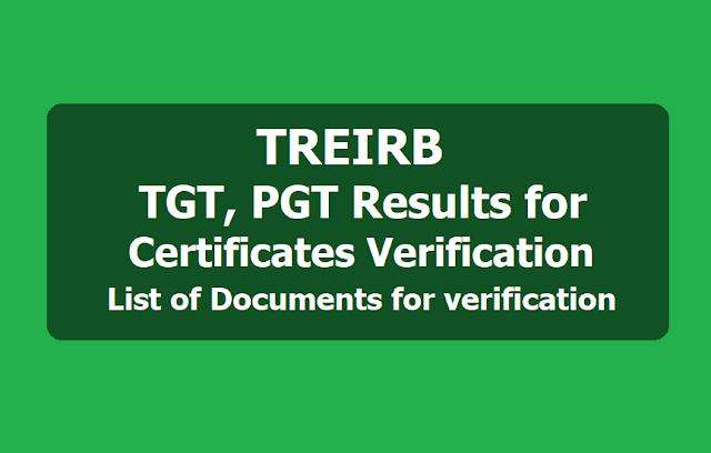 TREIRB TGT PGT Results, Certificates verification dates