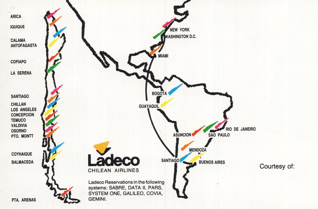 Airline memorabilia: Ladeco (1991), itinerario internacional