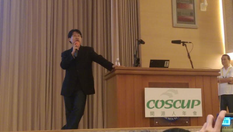 黃敬群 Jim Huang, Jserv 在 COSCUP 2015 的封麥演講,佟輝提供