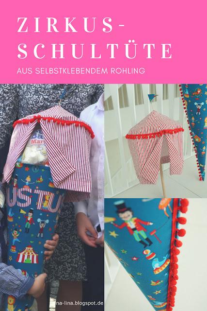 Zirkus-Schultüte selbst nähen mit selbstklebendem Rohling