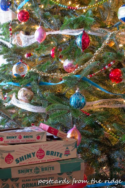 vintage mercury glass ornaments on a Christmas tree