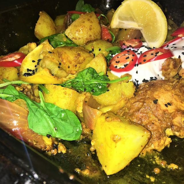 Gousto Indian-Spiced Chicken Tray Bake with Spinach