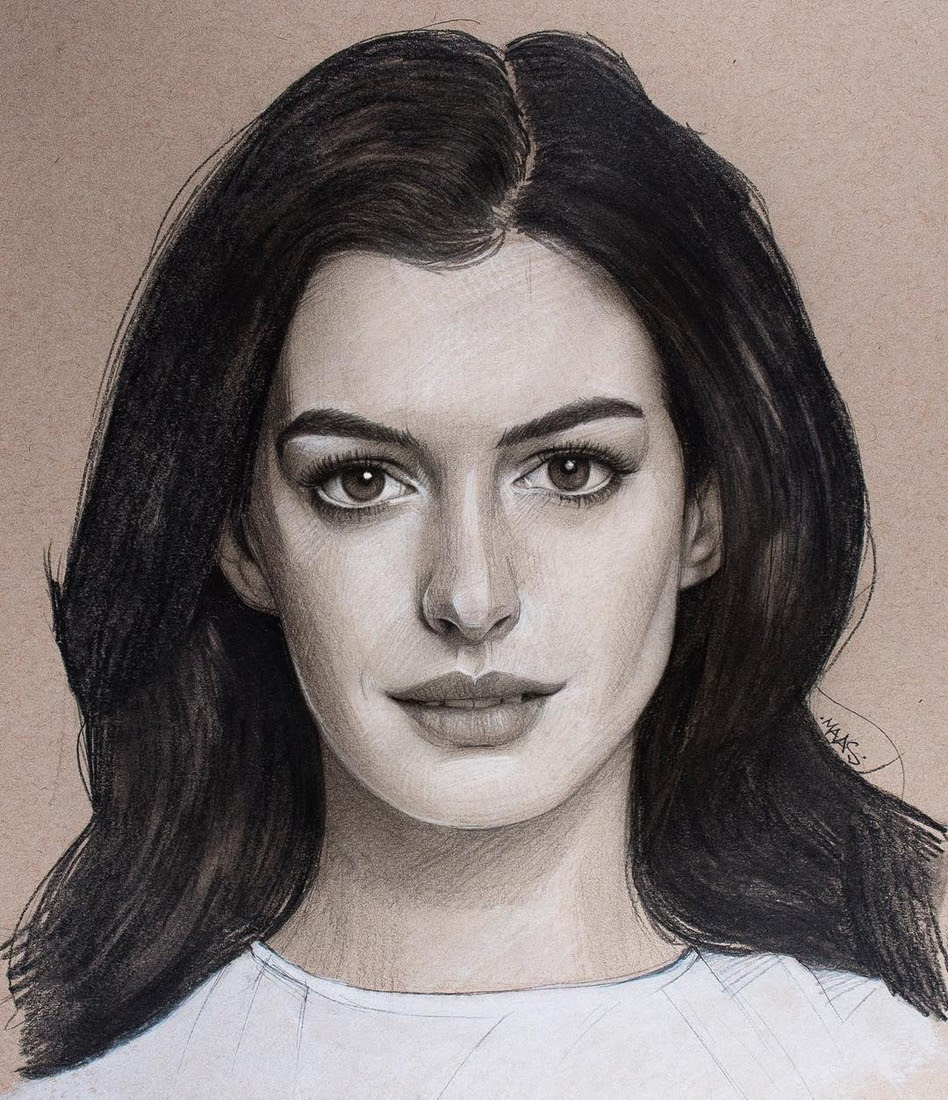 05-Anne-Hathaway-Justin-Maas-Pastel-Charcoal-and-Graphite-Celebrity-Portraits-www-designstack-co
