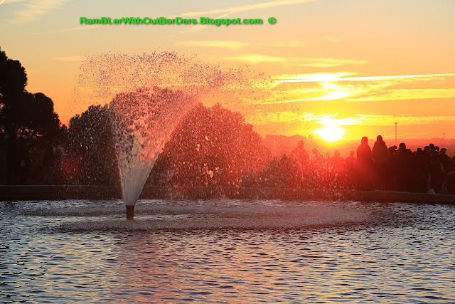 Sunset with fountain, Temple of Debod, Madrid, Spain