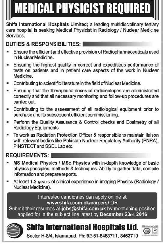 Shifa International Hospital Limited Islamabad Jobs
