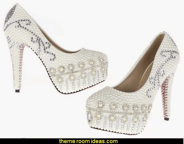 Pearl and Rhinestone Women's Wedding and Cocktail Platform Heels for Special Occasion Dresses Shoes